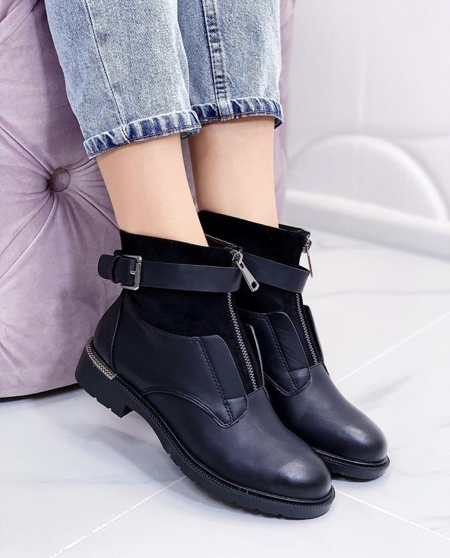 Новые шикарные женские черные демисезонные ботинки - Фото 2