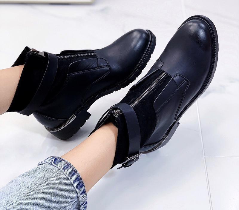 Новые шикарные женские черные демисезонные ботинки - Фото 3