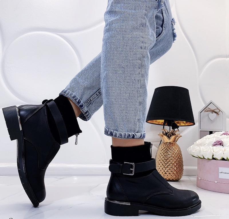 Новые шикарные женские черные демисезонные ботинки - Фото 4