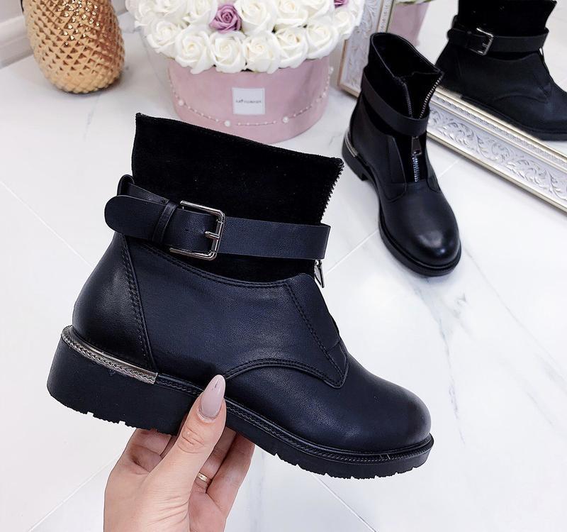 Новые шикарные женские черные демисезонные ботинки - Фото 5