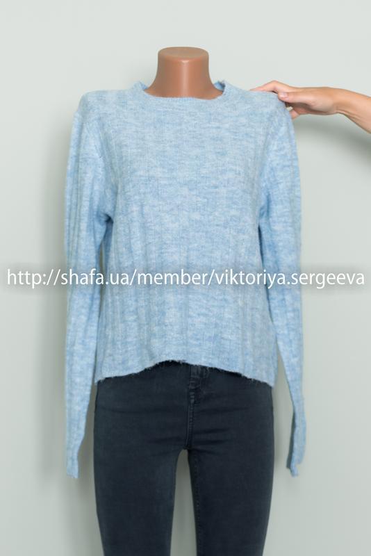 Большой выбор свитеров - теплый нежно голубой свитер 12% шерст... - Фото 4