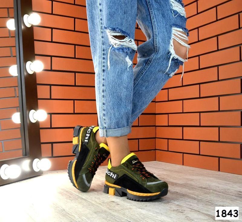 Натуральная замша эксклюзивные кроссовки на модной подошве кач...
