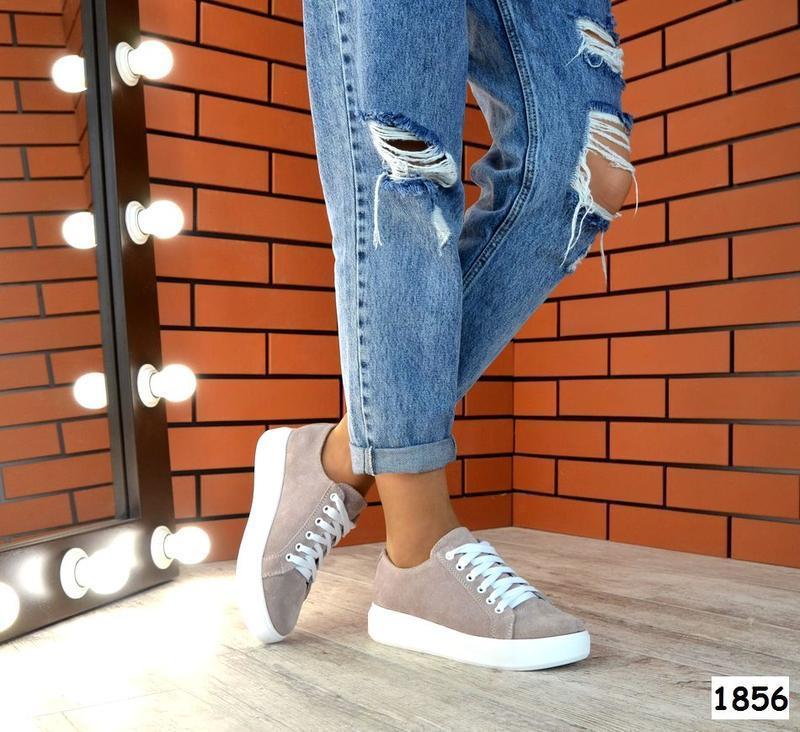 Натуральная замша базовые кроссовки кеды криперы на толстой по...