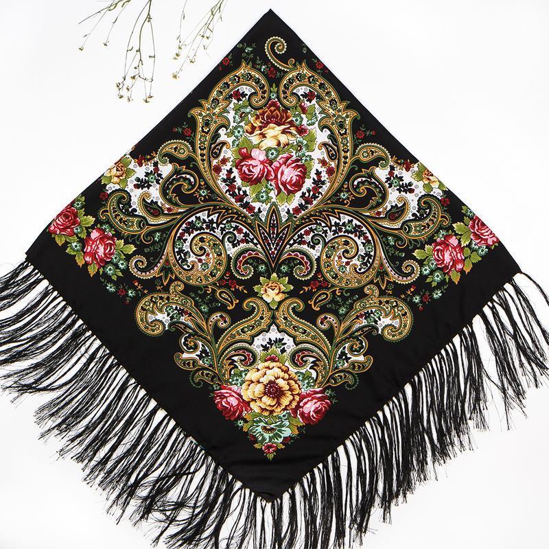 Чёрный павлопосадский платок царский