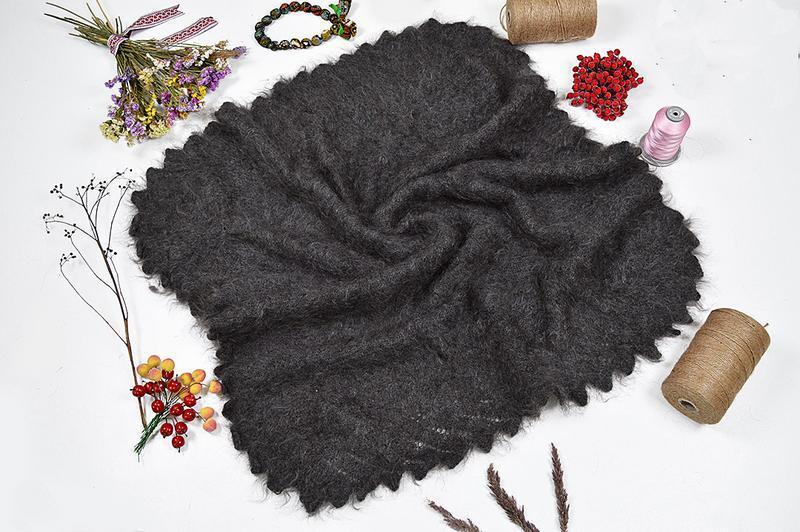 Оренбургский серый пуховой платок джамалия 105*105 см