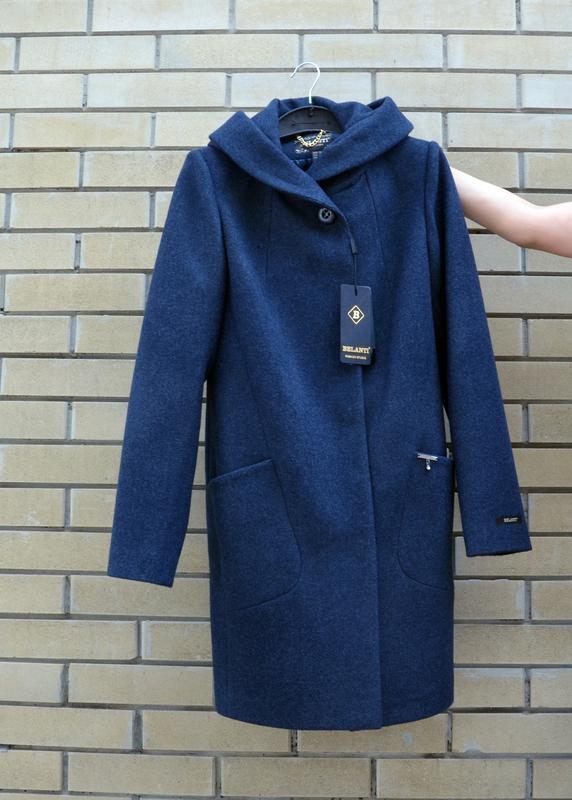 Пальто шерстяное belanti 186, темно-синий цвет - Фото 2
