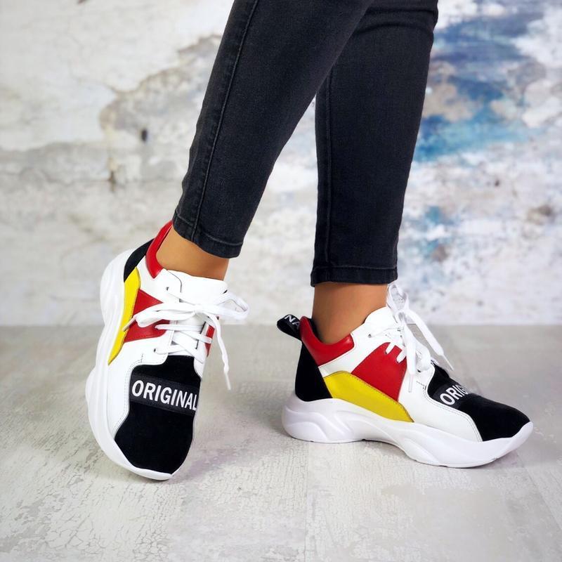 Натуральная замша разноцветные кроссовки на массивной подошве ...