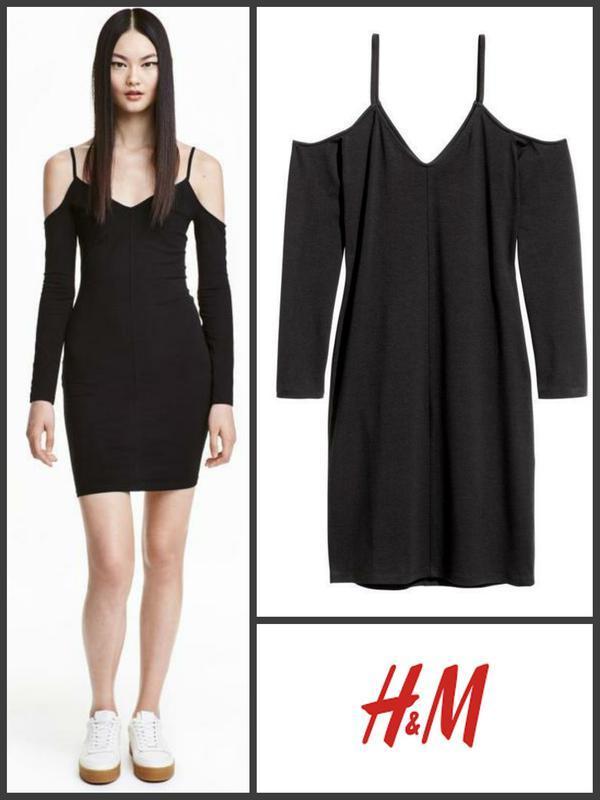 Платье черное чорна сукня с открытыми плечами от h&m