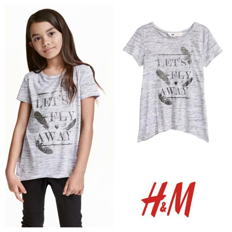 Футболка футболочка с серебристым принтом 146-152см от h&m
