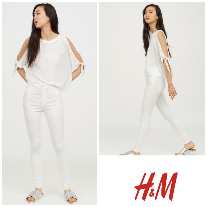 Белые джинсы скинни средняя посадка от h&m