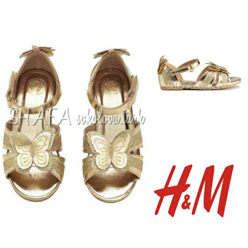 Золотистые босоножки сандалии с бабочками от h&m