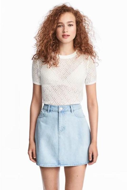 Джинсовая юбка трапеция спідниця 36 евро от h&m