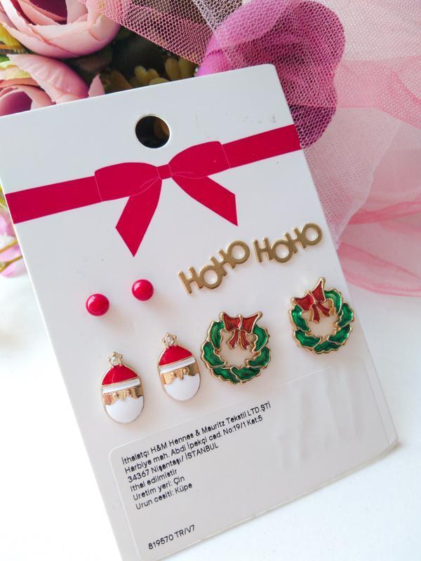 Комплект 4 пары серьги сережки гвоздики новогодние от h&m
