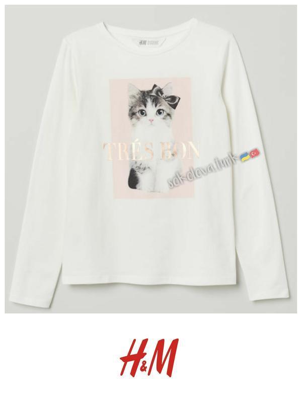 Трикотажная футболка лонгслив реглан с котёнком хлопок бавовна...