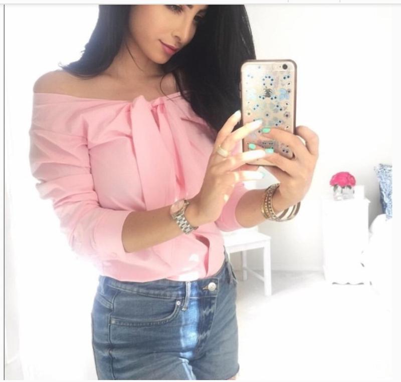Розовая рубашка блуза сорочка с открытыми плечами хлопок бавов...