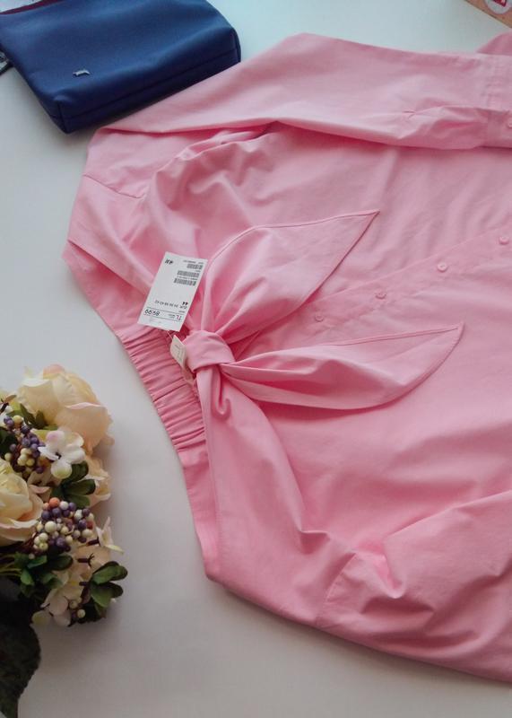 Розовая рубашка блуза сорочка с открытыми плечами хлопок бавов... - Фото 3