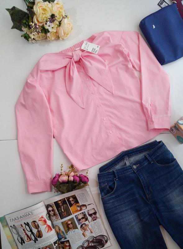 Розовая рубашка блуза сорочка с открытыми плечами хлопок бавов... - Фото 4