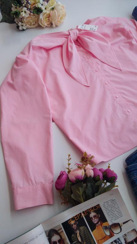 Розовая рубашка блуза сорочка с открытыми плечами хлопок бавов... - Фото 5
