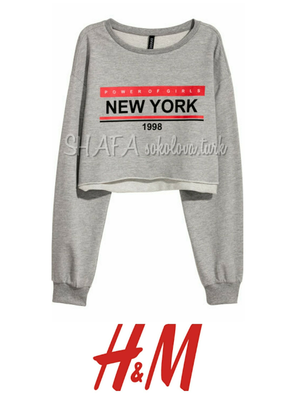 Свитшот укороченный худи свитер джемпер оверсайз от h&m