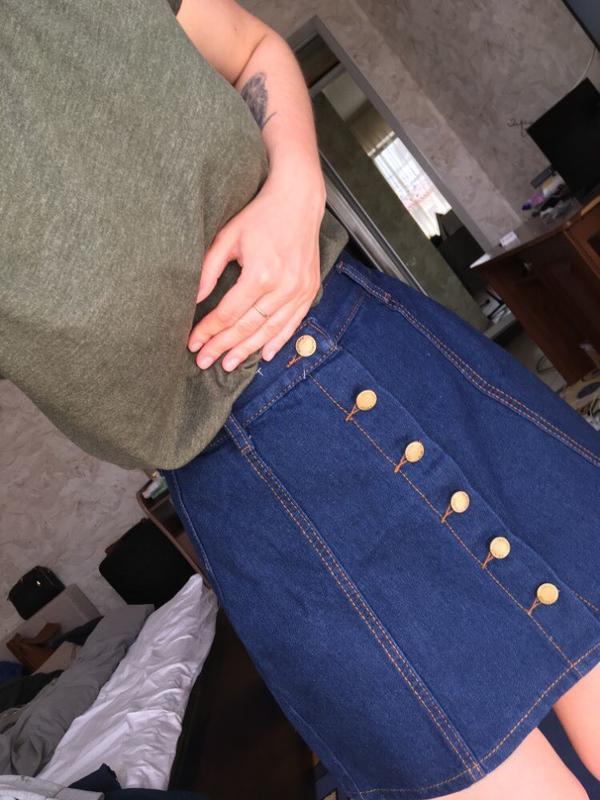 Юбка джинсовая на пуговицах - Фото 3