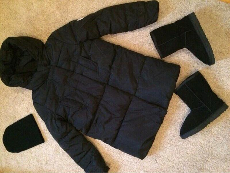Куртка парка на пуху (черная) - Фото 2