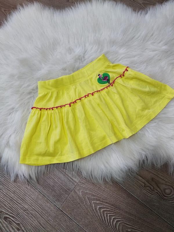 Лёгкая жёлтая юбка юбочка клеш хб летняя для девочки