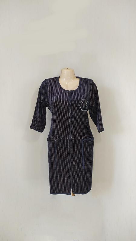 Женский велюровый халат на молнии с карманами