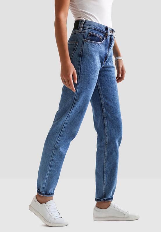 Стильные светлые синие плотные джинсы высокая талия mom jeans ...