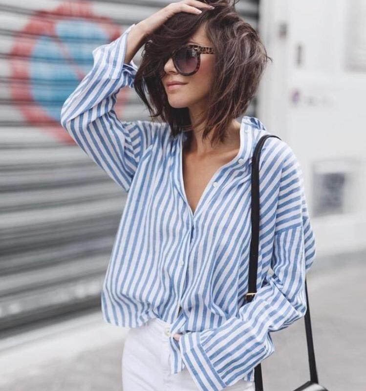 Полосатая синяя рубашка оверсайз