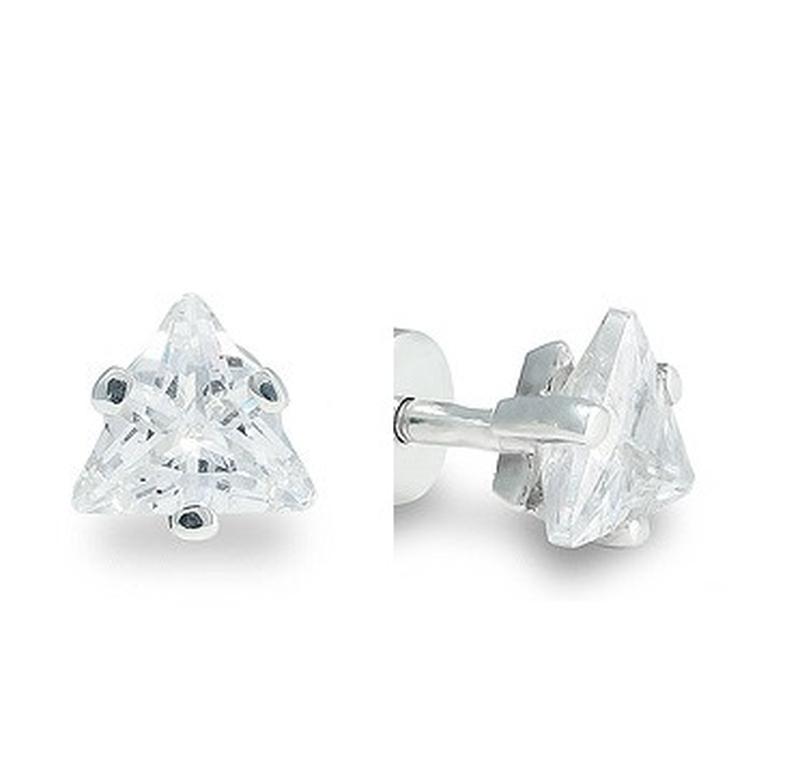 Маленькие серебряные серьги гвоздики с треугольными камнями ми...