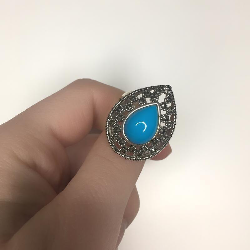 Серебряное кольцо с бирюзой капельное серебро 925 проба