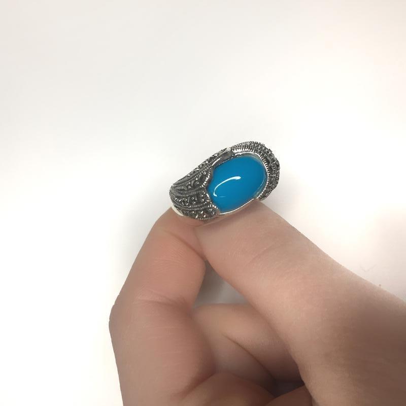 Серебряное кольцо бирюзой капельное серебро 925 проба
