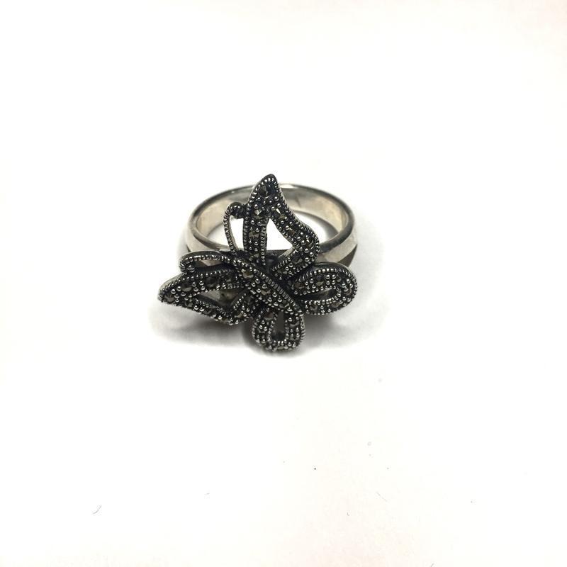 Серебряное кольцо капельное серебро в форме бабочки 925 проба