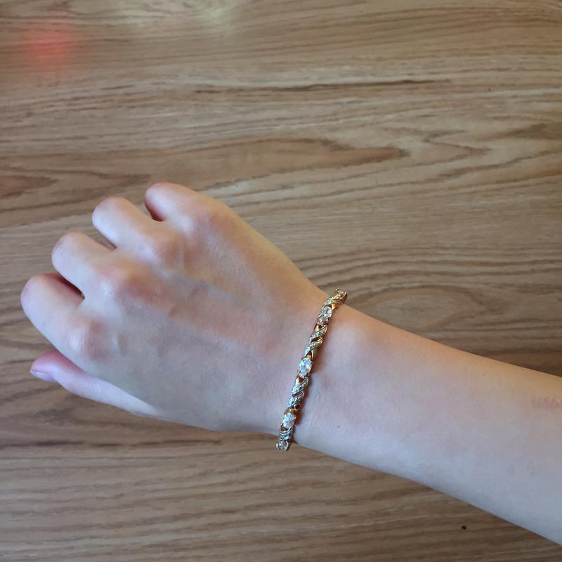 Б113п серебряный браслет 925 проба с позолотой и камнями