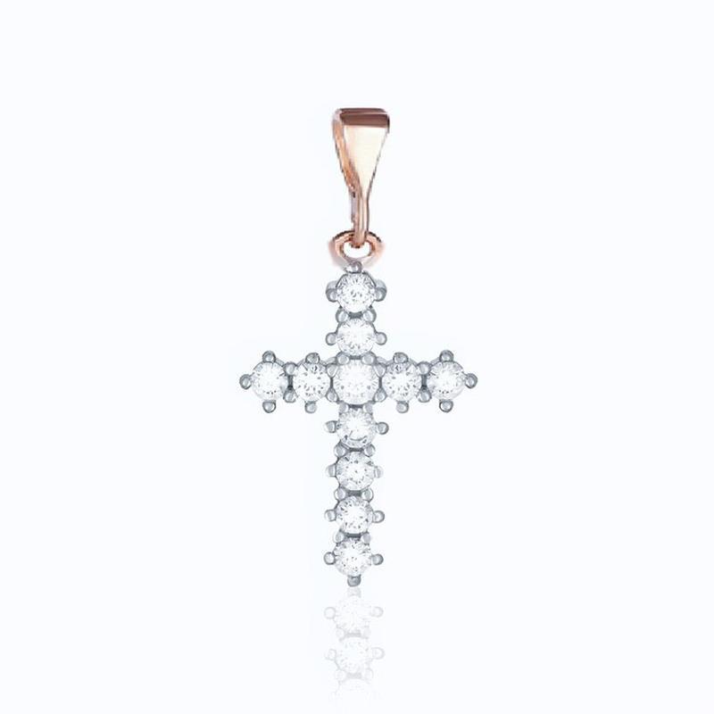Серебряный крест с камнями и позолотой 925 проба