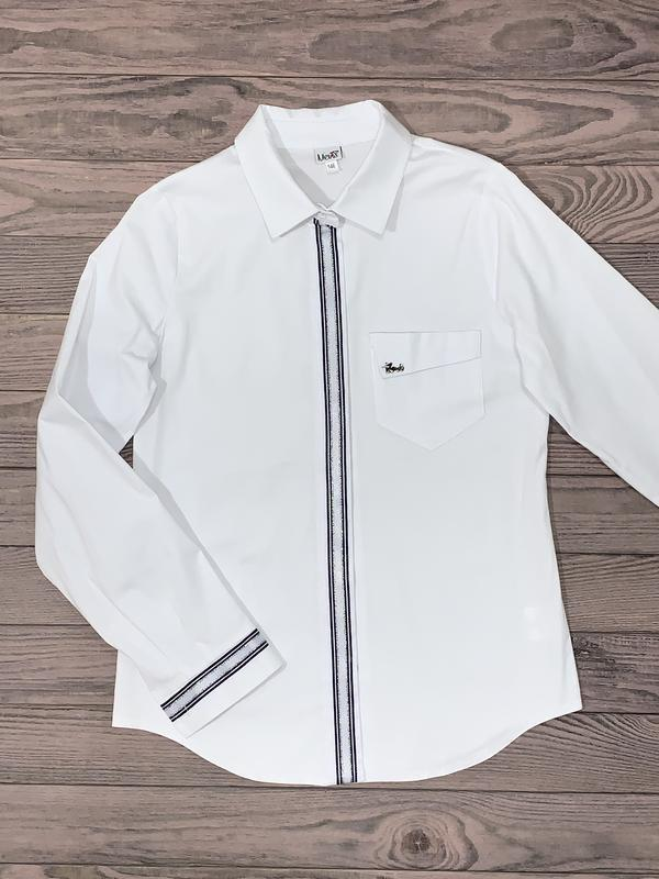 Белая хлопковая блуза для девочки 10-14 лет.