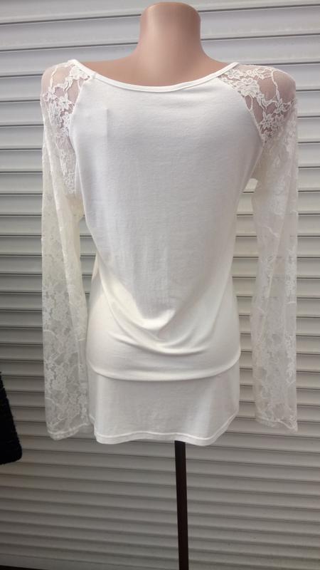 Блуза белая с кружевом - Фото 2