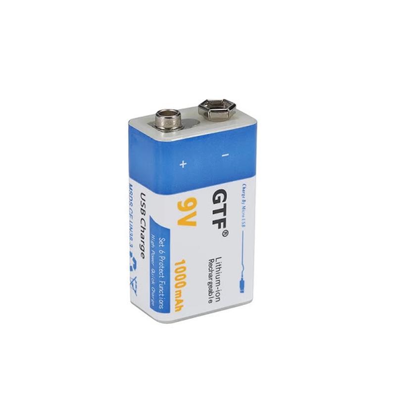 Аккумулятор Крона 9В 1000mAh GTF Li-Ion (6F22) зарядка micro-USB - Фото 3