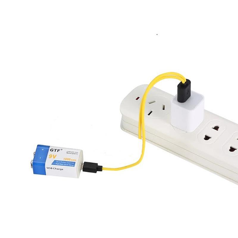 Аккумулятор Крона 9В 1000mAh GTF Li-Ion (6F22) зарядка micro-USB - Фото 4