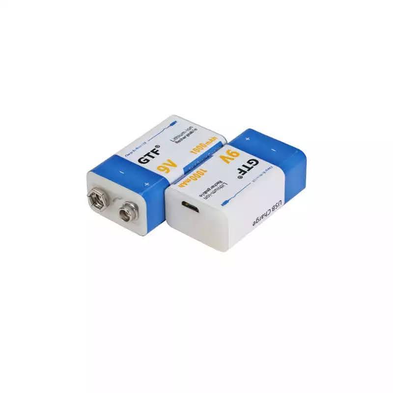 Аккумулятор Крона 9В 1000mAh GTF Li-Ion (6F22) зарядка micro-USB - Фото 2
