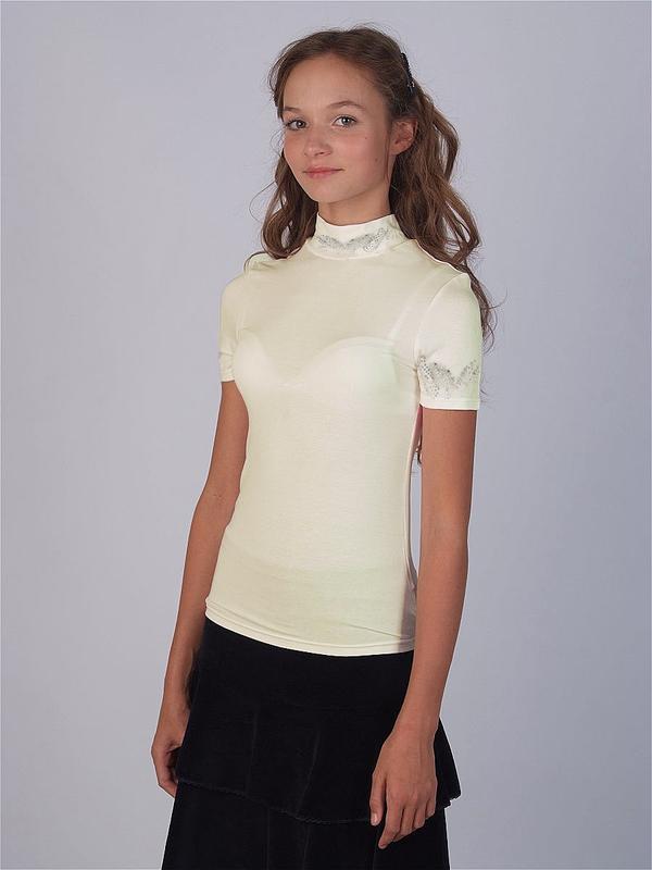 Футболка-блузочка с стразами, короткими рукавами для девочки, ...