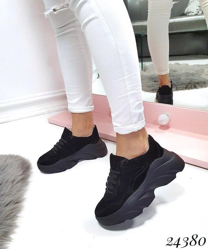 Натуральная замша эксклюзивные кроссовки на массивной подошве ...