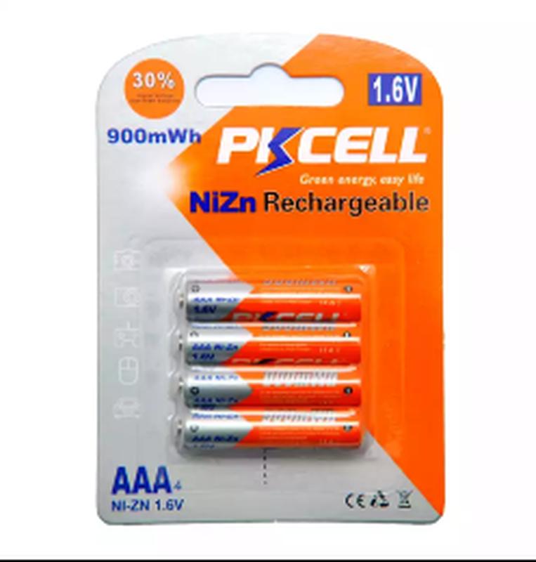 Аккумуляторы PKCELL 1,6В NiZn AAA900 и АА2500 мВч более1000циклов