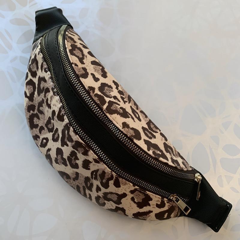 Женская леопардовая бананка поясная сумка на два отделения