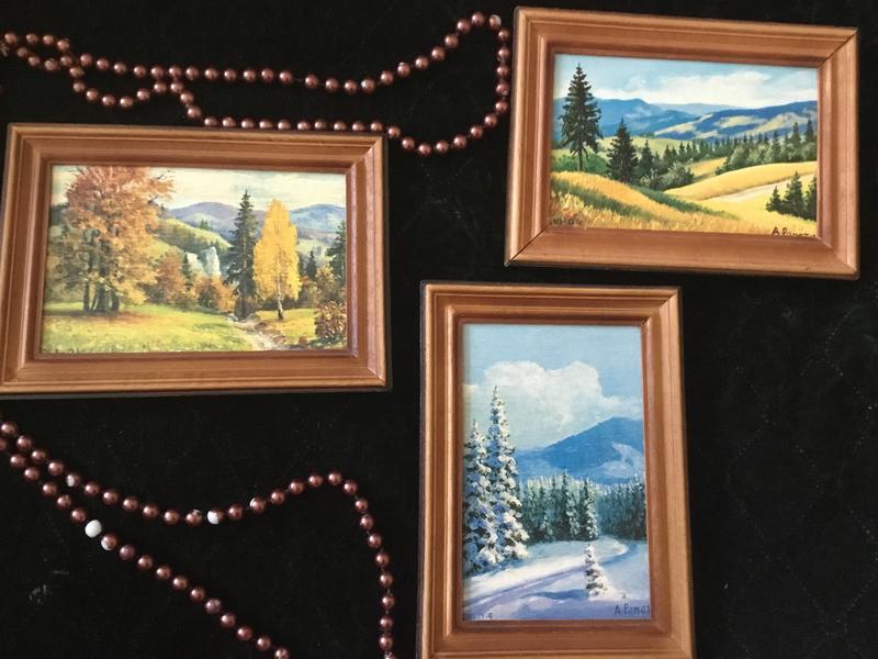 Чудесное три картин картины картина винтаж декор триптих