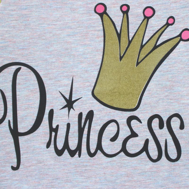 Костюм для девочки, серо-розовый. корона принцессы. - Фото 2