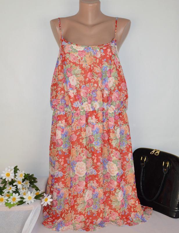 Шифоновое нарядное миди платье сарафан new look принт цветы бо...