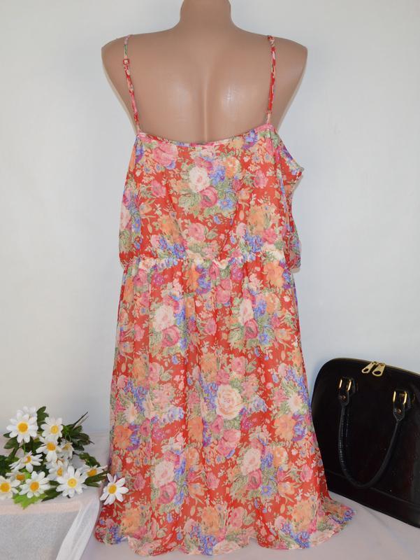 Шифоновое нарядное миди платье сарафан new look принт цветы бо... - Фото 2