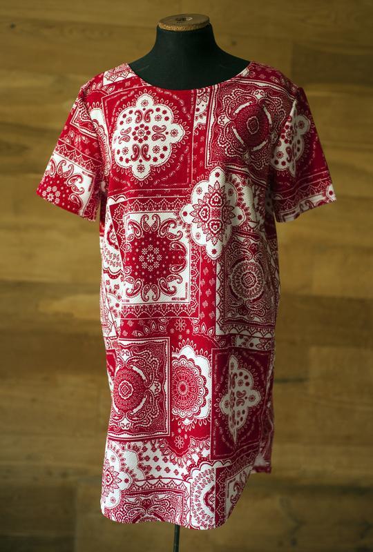 Красная блуза туника с коротким рукавом boohoo, размер l