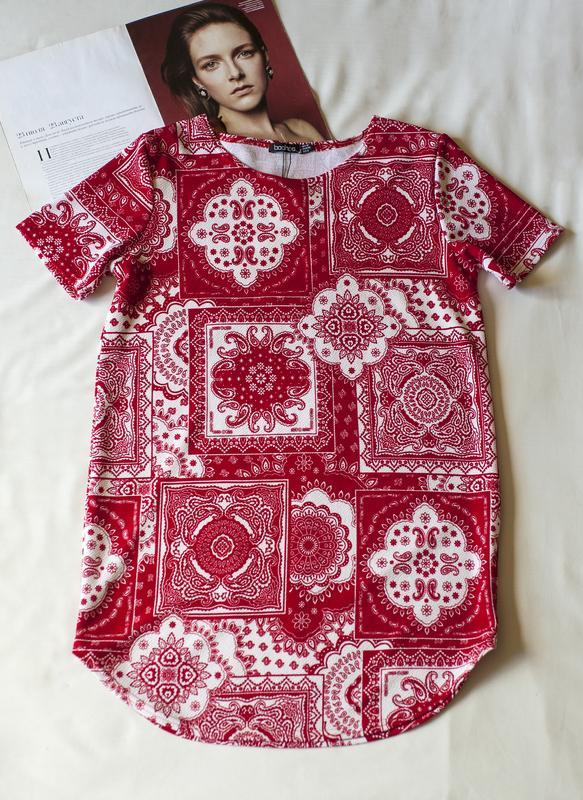 Красная блуза туника с коротким рукавом boohoo, размер l - Фото 2